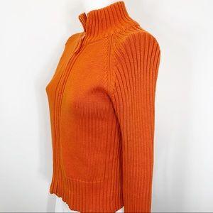 Zara zip mock turtleneck cardigan burnt orange